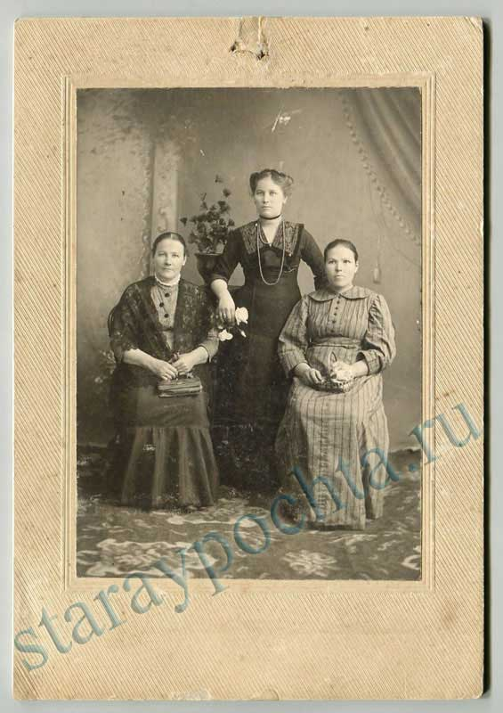 Passepartout. Three women. Size: 130х190mm Central photography A. A. Yakunin, Perm