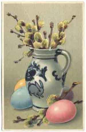 кувшин с ветками вербы и пасхальные яйца, 1911 год
