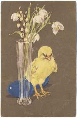 Цыпленок, цветы и яйца, 1913 год