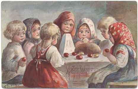 Маленькие дети, куличи и яйца, 1907 год